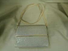 Vintage Whiting & Davis White Beaded Metal Mesh Handbag Great Condition