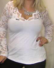 SEXY SULTRY ANGEL VTG WHITE FLORAL LACE LOW V NECK COTTON STRETCH WOMENS TOP 2x