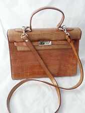 KELLY BAG brown croco designer inspired satchel frame ladylike 12.5""