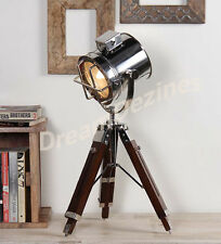 Chrome Designer's Corner table Lamp With Mention Tripod Stand Nickel SpotLight