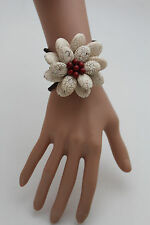 Women Bracelet White + Red Beads Flower Charm Elastic Cuff Band Fashion Jewelry