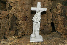 Jesus Christ Crucifixion Saint Francis Statue Chalk Ware Plaster Made in Italy