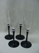 Cristal D'arques-Durand Luminarc Astra-Black Pattern, 4 Champagne Flutes Glasses