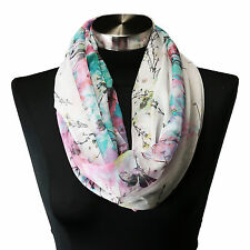 Sheer Spring Watercolor White Pink Teal Floral Viscose Infinity Scarf Chiffon