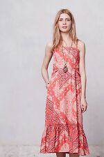 Anthropologie Holding Horses West Stable Red Paisley Midi Tiered Dress 4 6 $148
