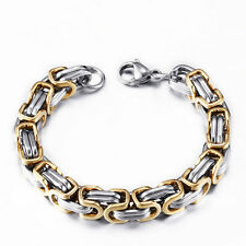 """5mm Mens Chain Byzantine Box Link Gold Silver Tone Stainless Steel Bracelet  11"""""""