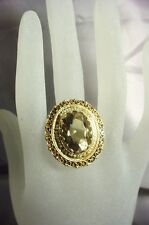 LARGE 14K GOLD OVAL CUT SMOKEY QUARTZ & BEAD PEARL RING 15.5 GRAMS  SIZE 7-3/4
