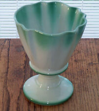 Vintage Green and White Regal Vase Pottery Collectible Footed Base Ruffled Top