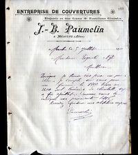 """MEAULNE (03) COUVERTURE ZINGUERIE """"J.B. PAUMELIN"""" en 1911"""