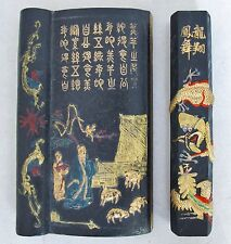 """5.6"""" Chinese Painted Wrist Rest with Scholar & Poem + 5.45"""" Ink Cake with Dragon"""