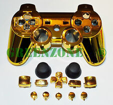 Custom PS3 Controller Gold Chrome Shell Mod Kit + Matching Buttons set