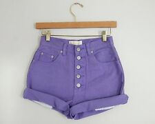 Vintage Purple High Waisted Exposed Button Fly Cut Offs Cuffed Denim Shorts 25W