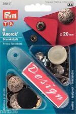 """Druckknöpfe """" Anorak """" Nr. 390511 PRYM 20 mm mattsilber Boot Öse Niete Garten"""