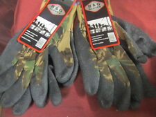 2 PAIRS OF B & G LATEX DIPPED CAMOFLAUGE SIZE XTRA LARGRE WORK GLOVES