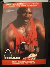 Evander Holyfield Boxing Champion Signed Head Athletic Apparel Ad RARE Piece