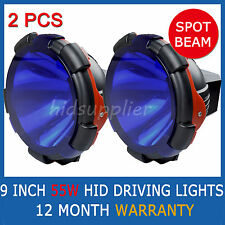 "2 PCS 9"" 55W HID XENON DRIVING LIGHTS SPOTLIGHTS POWERFUL SPOT BEAM BLUE COVER"