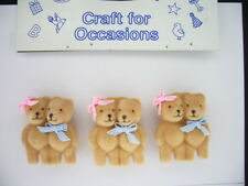 Card Making Embelishments - C536 Teddy Bears x 3 Joined Couples