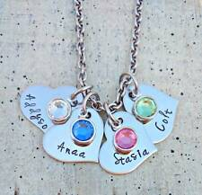 Hand Stamped Child's Name Birthstone Necklace family Personalized Mother Mom