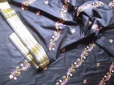 Sari Stoff m.Pailetten-Stickerei 3m schwarz-1 Gardine Vorhang Indien Bollywood