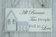 Mr & Mrs Plaque All Because Two People Fell in Love Wedding Charm Sign F1679A