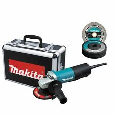 MAKITA 9557PBX1 4 1/2 ANGLE GRINDER PADDLE SWITCH W/CASE, DIAMOND BLADE AND GRIN