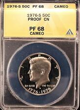 1976-S KENNEDY PROOF HALF DOLLAR ANACS PF68 CAMEO US COIN X009
