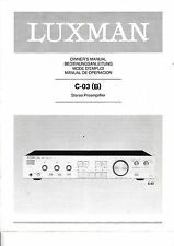 Owner's Manual Owner's Manual for Luxman C-03