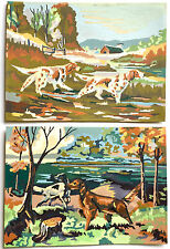 VINTAGE 1954 PAINT BY NUMBERS ACRILIC DOG ART SET ~ THE HUNT & AUTUMN HUNT #28EE