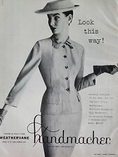 1963 Tailored By Handmacher Weathervane Suit Hat Fashion Ad