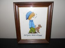 FRAMED NEEDLEPOINT PICTURE OF BOY WHISTLING WALKING ALONG WITH HIS DOG