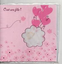 Carte Faire-Part Naissance.Rose.Fille.C'est une Fille !.17 cm x 17 cm.