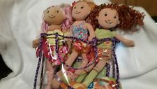 Groovy Girls Lot, 3 dolls, surfboard, mermaid suit, wetsuit, soccer net, bag, cl