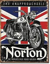 Norton Motorcycles World's Best Union Flag in b'ground metal sign (de)