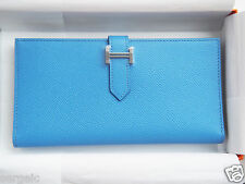 LOVELY Authentic NEW Hermes Bearn H Wallet BLUE Paradise Epsom leather PHW