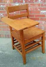 Vintage Tiger Oak School Desk Chair With Cubby