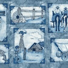 Western Album image panel Cotton Quilt Fabric Blue Horses Windmill Covered Wagon