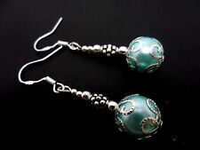 A PAIR OF DANGLY BLUE GLASS BEAD  EARRINGS WITH 925 SOLID SILVER HOOKS. NEW.