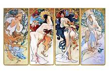 "Alphonse Mucha `Four Seasons'  *FRAMED* CANVAS ART Poster 16""X 12"""