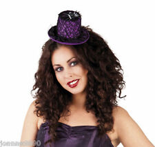 HALLOWEEN PURPLE SPIDER WEB MINI WITCH HAT GOTHIC FANCY DRESS COSTUME ACCESSORY