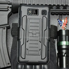 For Motorola Droid Razr HD XT925 Hybrid Black Armor Case Cover Holster Rugged