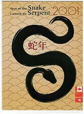 2001 TIMBRES CANADA / CHINA STAMPS  YEAR of the SNAKE  pack