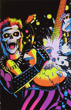 SKELETON ROCKER - BLACKLIGHT POSTER - 24X36 FLOCKED GUITAR MUSIC 6004