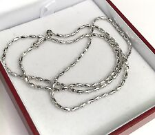 18k Solid White Gold Shiny Italy Beaded Chain Necklace, 16 Inches, 5.18 Grams