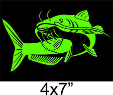 CATFISH sticker fish channel noodle hand fishing Decal boat truck Window green