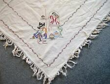 Vintage Embroidered Tablecloth Spanish Mexican Theme 40 x 43 + Fringe