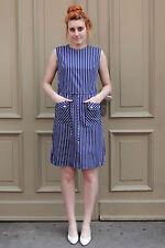 Anne Yarson by G&L Damen Kleid dress blau blue weiß 70er True VINTAGE 70´s women