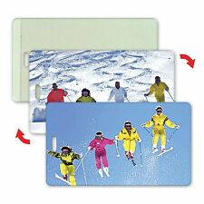 Ski Skiers Luggage Bag Travel Tag Lenticular Animation All-Weather #LT04-209#