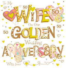 """Wife Golden 50th Wedding Anniversary Greeting Card 8"""" Square Handmade Cards"""