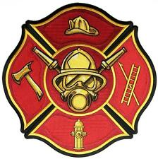 Fire Fighter Axe Ladder Hydrant Embroidered Jacket Vest Large Back Patch P9850