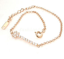 Women Girl Rose Gold Plated CZ CubicZirconia Crystal Adjustable Bracelet 8+4cm